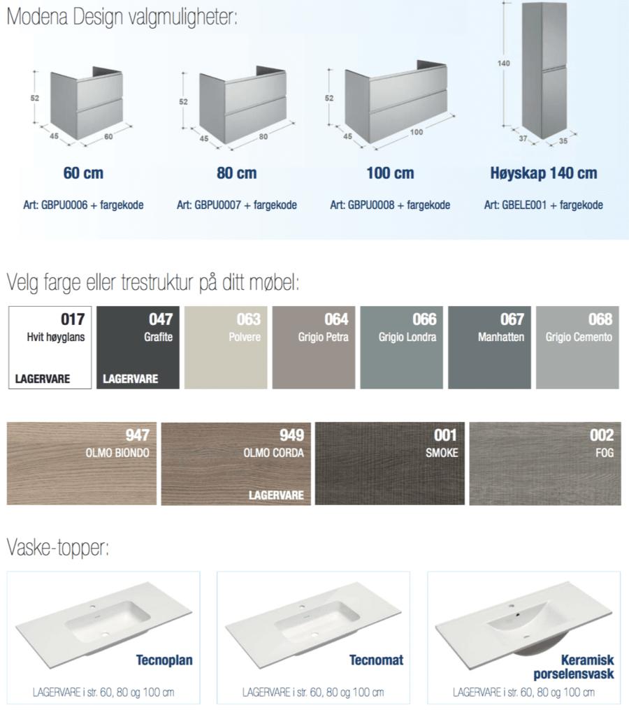 Modena design varianter